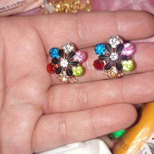 Betsey Johnson multicolor gemstone flower earrings